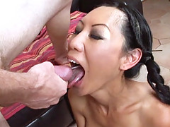Asian babe Tia Ling nailed in the cunt by Steve Taylors big cock before swallowing a load
